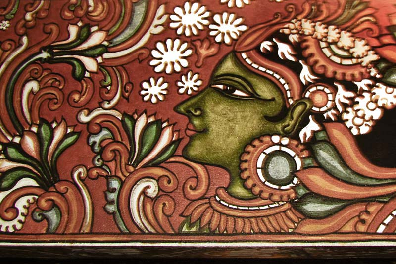 Kerala Mural Painting   Lady in <strike>Red</strike> Orange