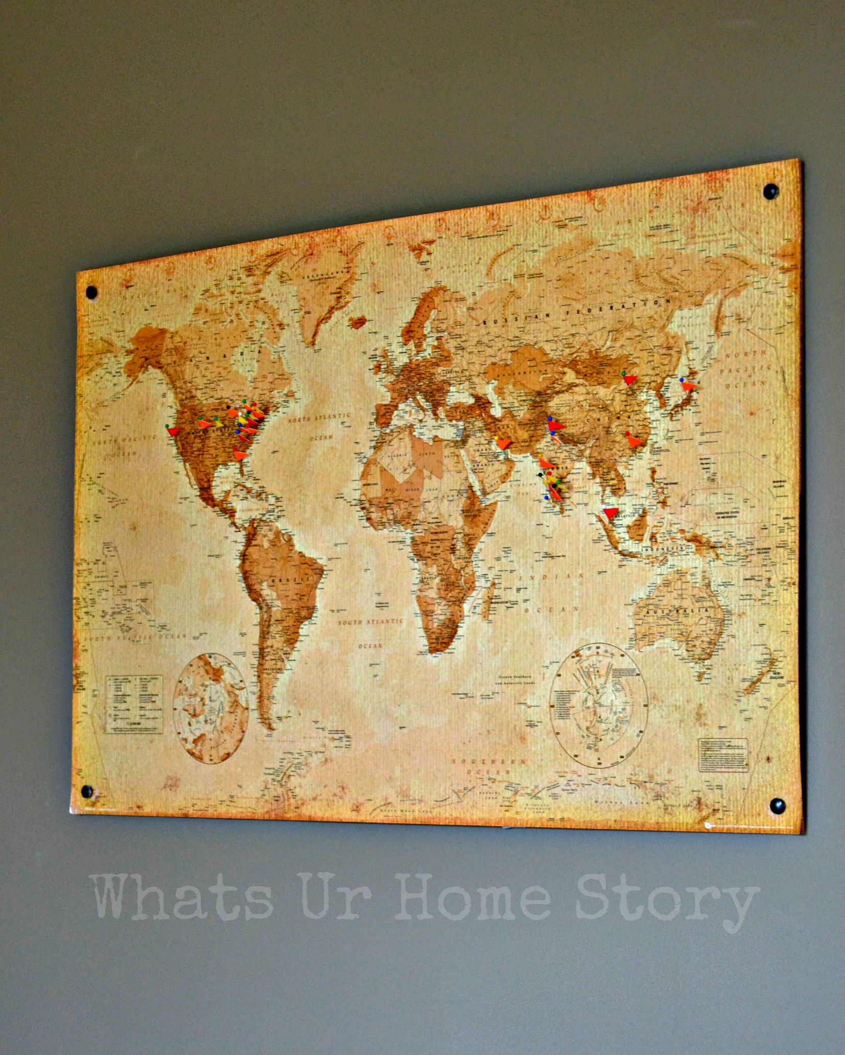 Diy cork board map whats ur home story for Diy cork board