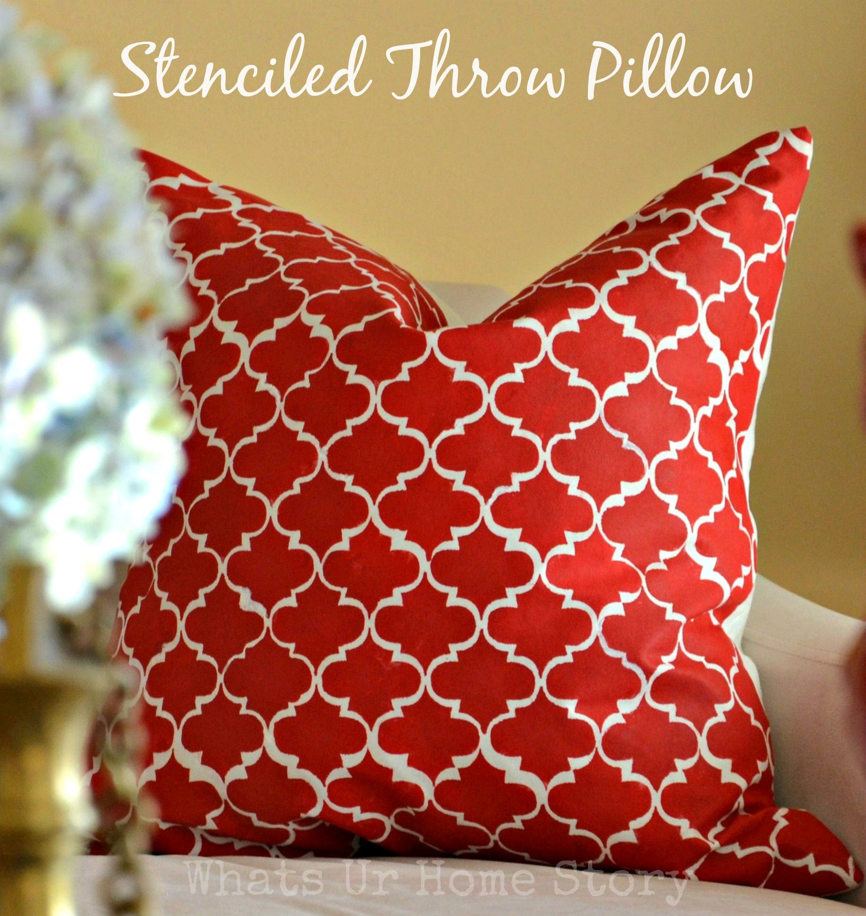diy stenciled throw pillow,MarrakechTrellispillow,StenciledThrowPillow,stenciledthrowpillowtutorial