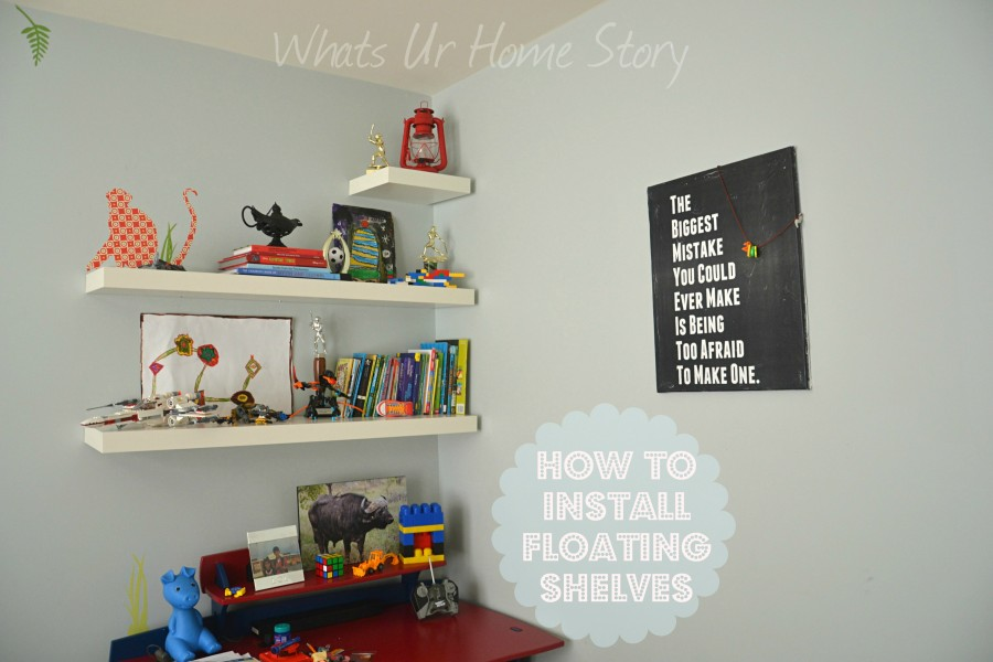 Whats Ur Home Story: How to hang floating shelves, floating shelves tutorial, easy way to hang shelf, hang picture frame, hang art