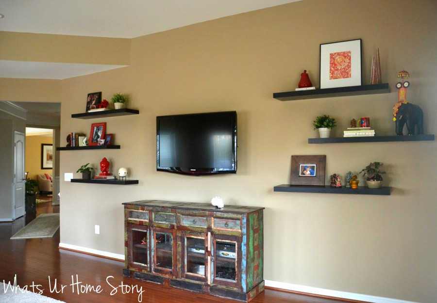 How To Decorate Around A Tv With Floating Shelves Whats