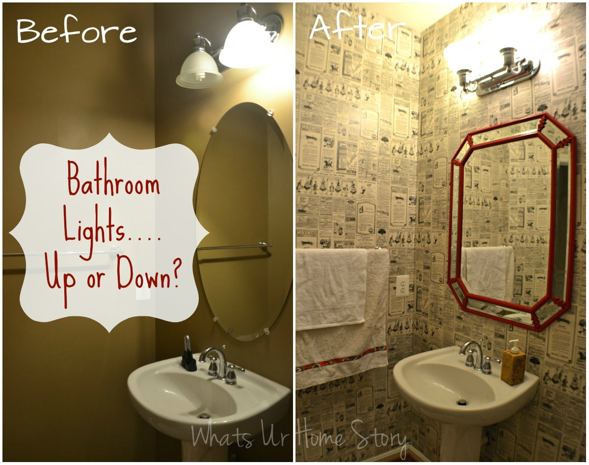 Should Bathroom Lights face Up or Down, bathroom lights up or down