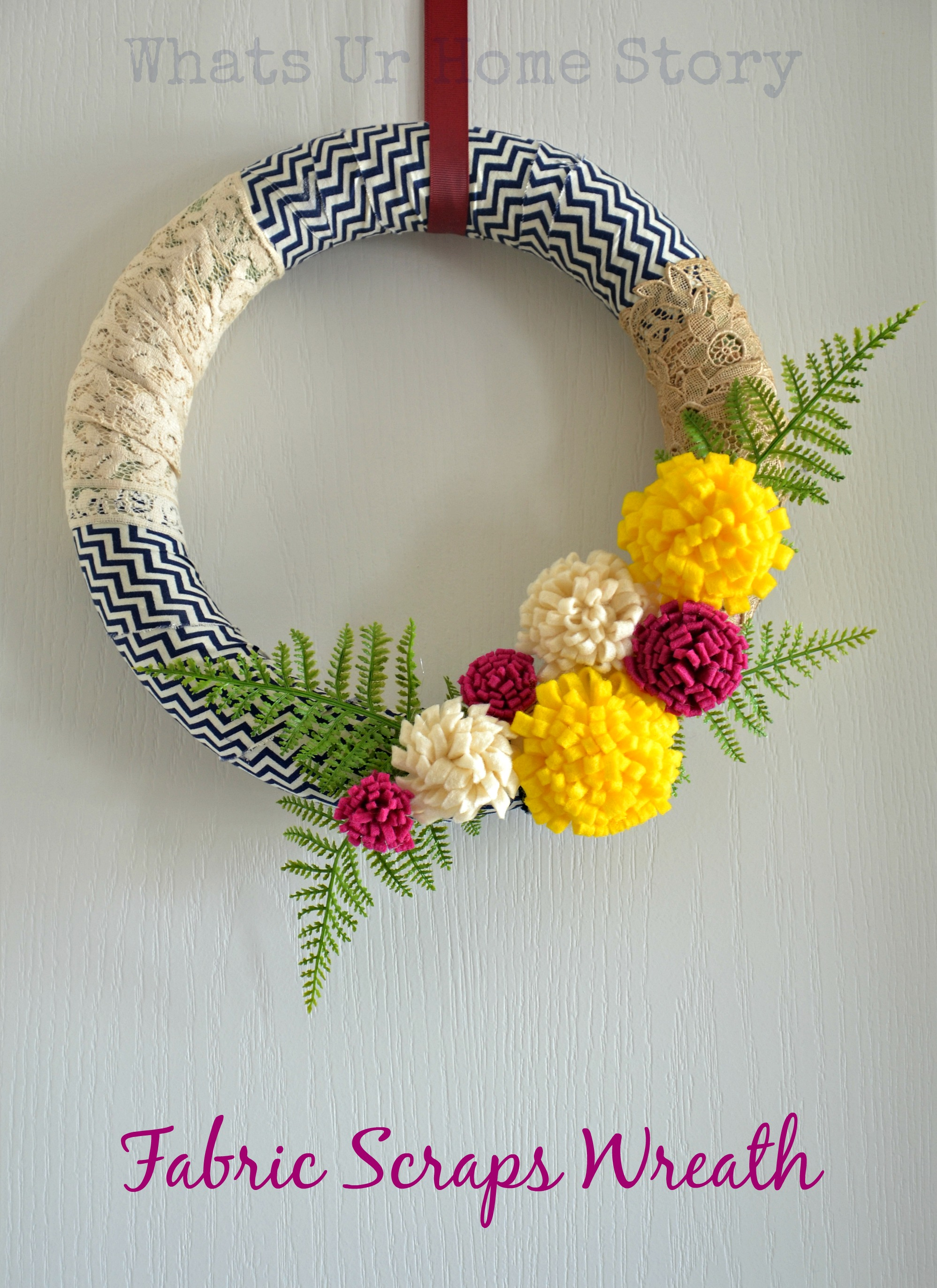 fabric scraps wreath, felt flower wreath, spring wreath