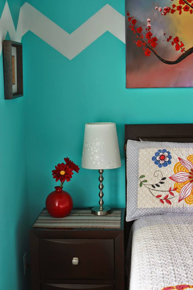 Turquoise And Red Bedroom