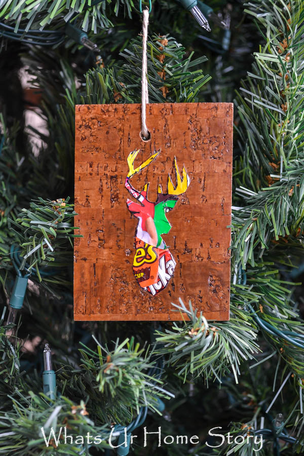 Make Woodland Reindeer Ornaments from floor plank samples from the hardware store and candy wrappers Whats Ur Home Story