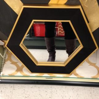 Black and Gold Hexagon Mirror e