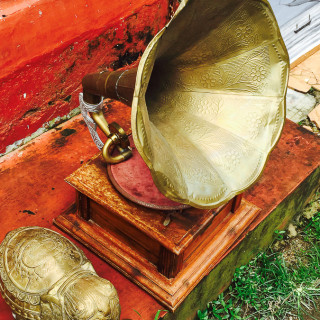 antiquing in Jew town Brass gramaphone