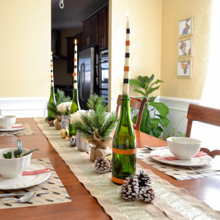 Neutral Christmas Table Setting