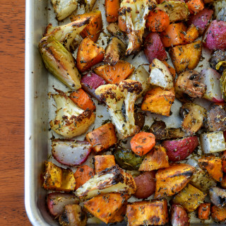 whole compliant roasted vegetables and egg breakfast hash