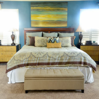 eclectic home tour blue and beige bedroom