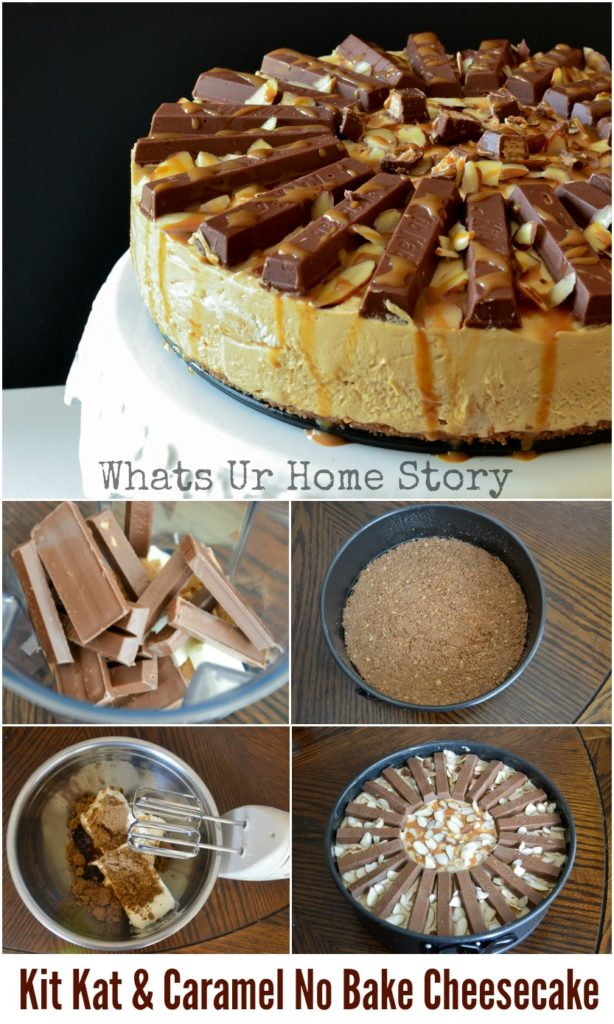 Kit Kat & Caramel No Bake Cheesecake