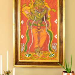 traditional indian mural painting in an ornate diy frame