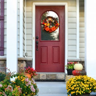 Scarecrow Fall Wreath and Fall porch