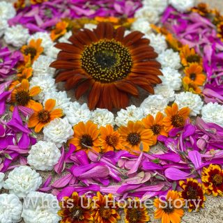 how to make easy flower rangoli