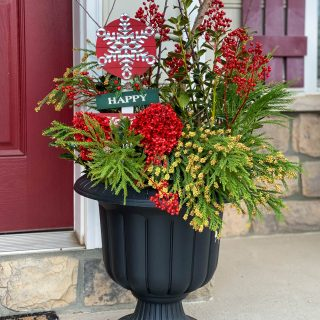 Christmas Front Porch Decor -Outdoor Christmas Planter